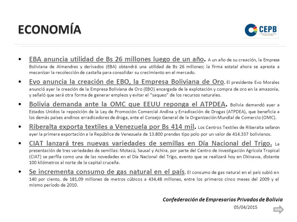 ECONOMÍA EBA anuncia utilidad de Bs 26 millones luego de un año.