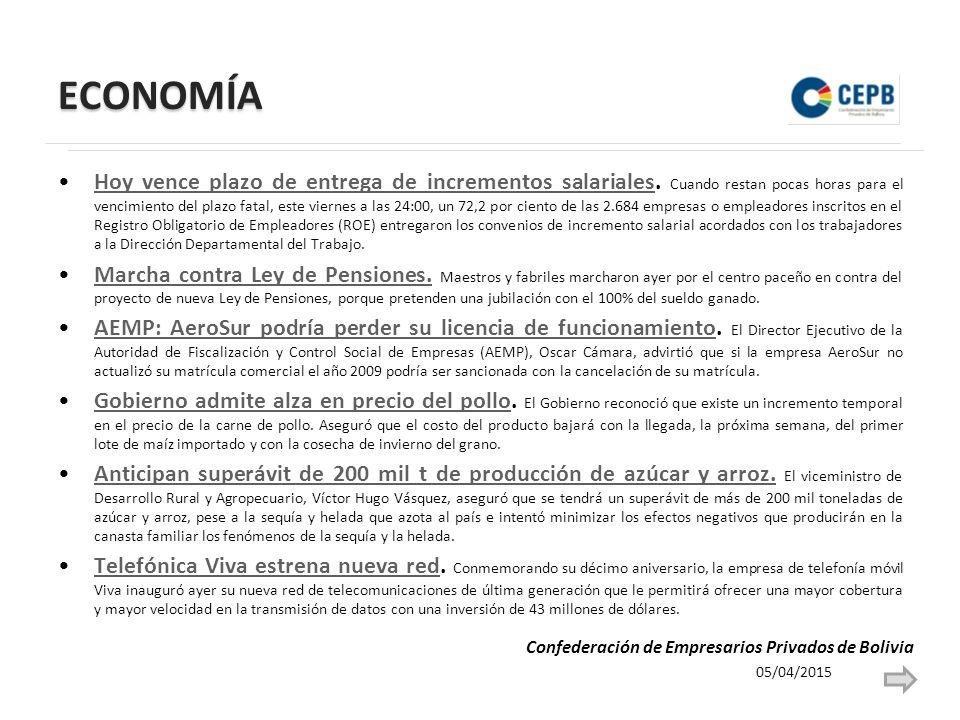 ECONOMÍA Hoy vence plazo de entrega de incrementos salariales.