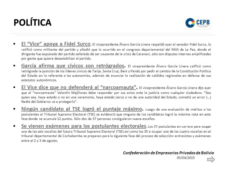 POLÍTICA El Vice apoya a Fidel Surco.