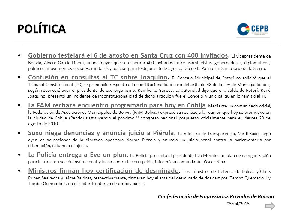 POLÍTICA Gobierno festejará el 6 de agosto en Santa Cruz con 400 invitados.