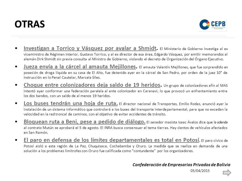 OTRAS Investigan a Torrico y Vásquez por avalar a Shmidt.