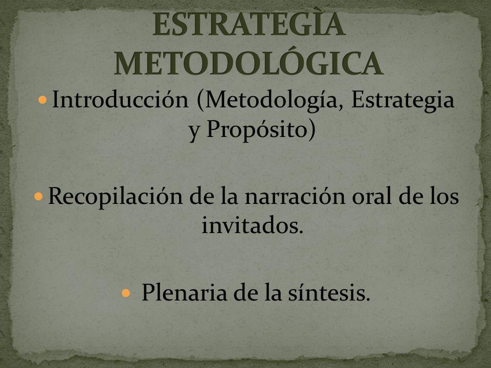 Introducción (Metodología, Estrategia y Propósito) Recopilación de la narración oral de los invitados.