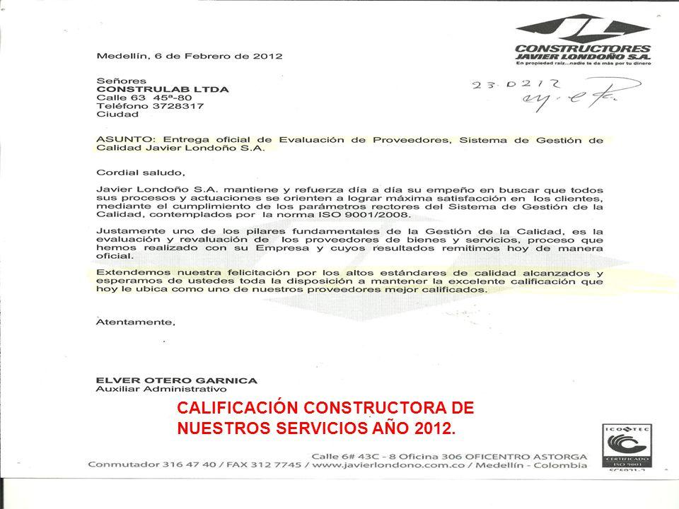 CALIFICACIÓN CONSTRUCTORA DE NUESTROS SERVICIOS AÑO 2012.