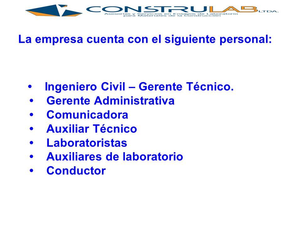 La empresa cuenta con el siguiente personal: Ingeniero Civil – Gerente Técnico.