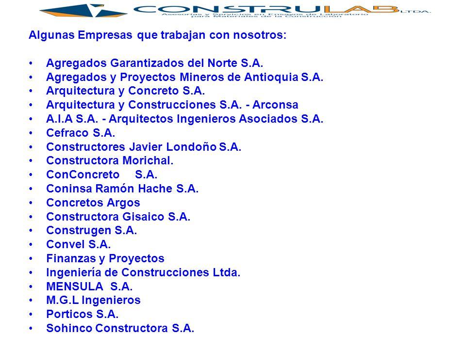 Algunas Empresas que trabajan con nosotros: Agregados Garantizados del Norte S.A.