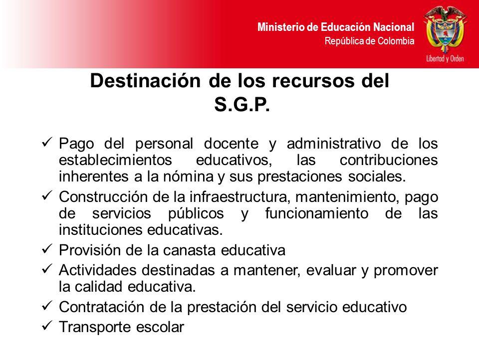 Ministerio de Educación Nacional República de Colombia Destinación de los recursos del S.G.P.