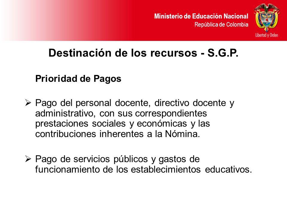 Ministerio de Educación Nacional República de Colombia Destinación de los recursos - S.G.P.