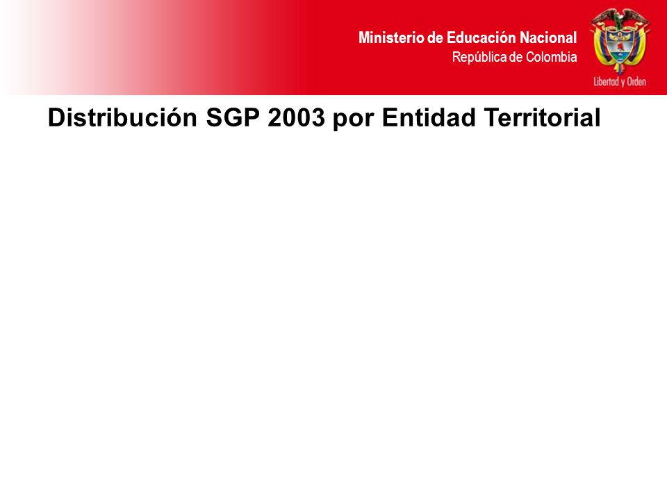 Ministerio de Educación Nacional República de Colombia Distribución SGP 2003 por Entidad Territorial