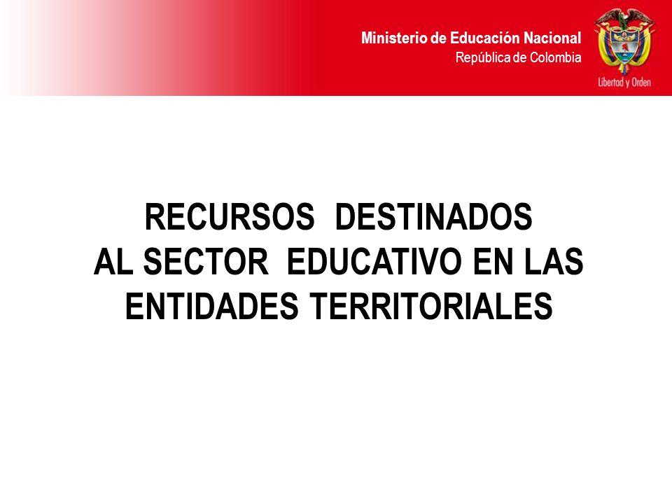 Ministerio de Educación Nacional República de Colombia RECURSOS DESTINADOS AL SECTOR EDUCATIVO EN LAS ENTIDADES TERRITORIALES