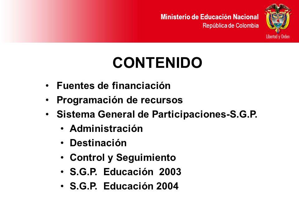 Ministerio de Educación Nacional República de Colombia CONTENIDO Fuentes de financiación Programación de recursos Sistema General de Participaciones-S.G.P.