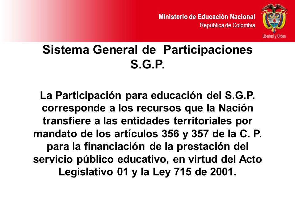 Ministerio de Educación Nacional República de Colombia Sistema General de Participaciones S.G.P.