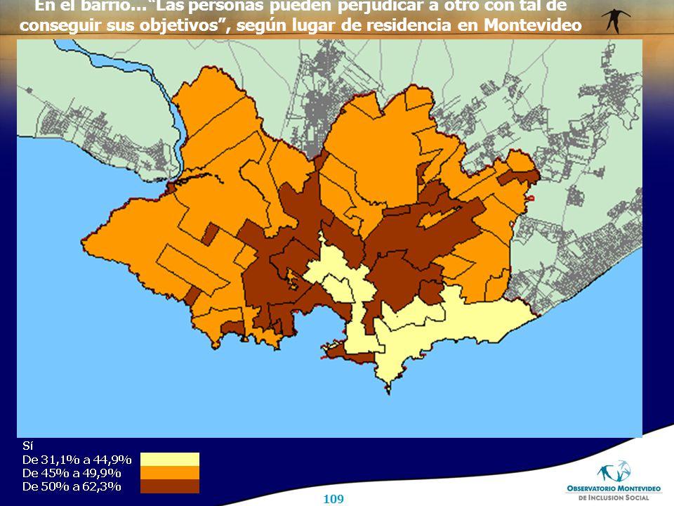109 En el barrio... Las personas pueden perjudicar a otro con tal de conseguir sus objetivos , según lugar de residencia en Montevideo