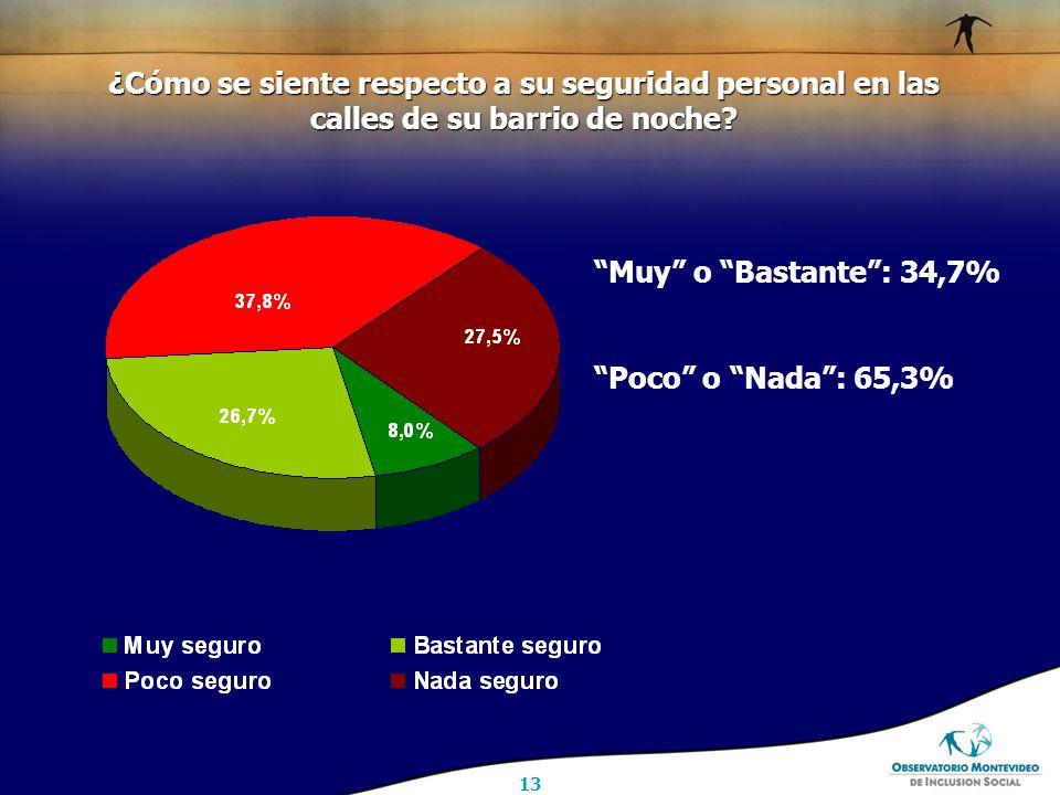 13 Muy o Bastante : 34,7% Poco o Nada : 65,3% ¿Cómo se siente respecto a su seguridad personal en las calles de su barrio de noche
