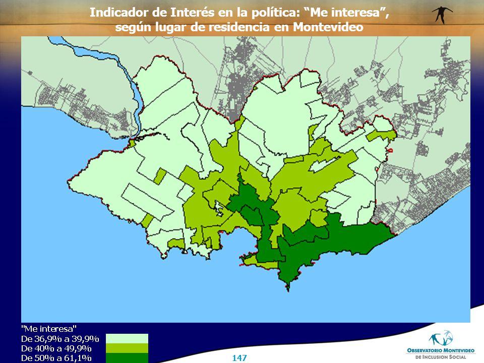 147 Indicador de Interés en la política: Me interesa , según lugar de residencia en Montevideo