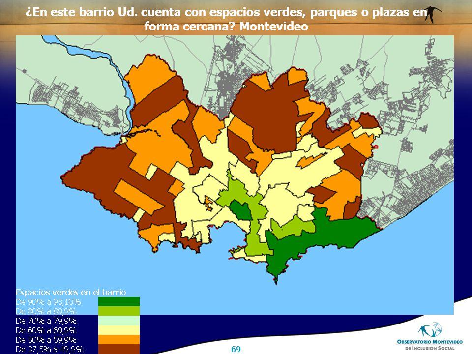 69 ¿En este barrio Ud. cuenta con espacios verdes, parques o plazas en forma cercana Montevideo