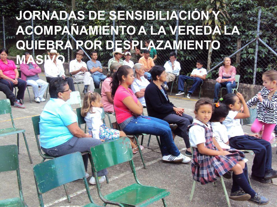PERSONERÍA MUNICIPAL ARMENIA ANTIOQUIA 2008 - 2012 JORNADAS DE SENSIBILIACIÓN Y ACOMPAÑAMIENTO A LA VEREDA LA QUIEBRA POR DESPLAZAMIENTO MASIVO