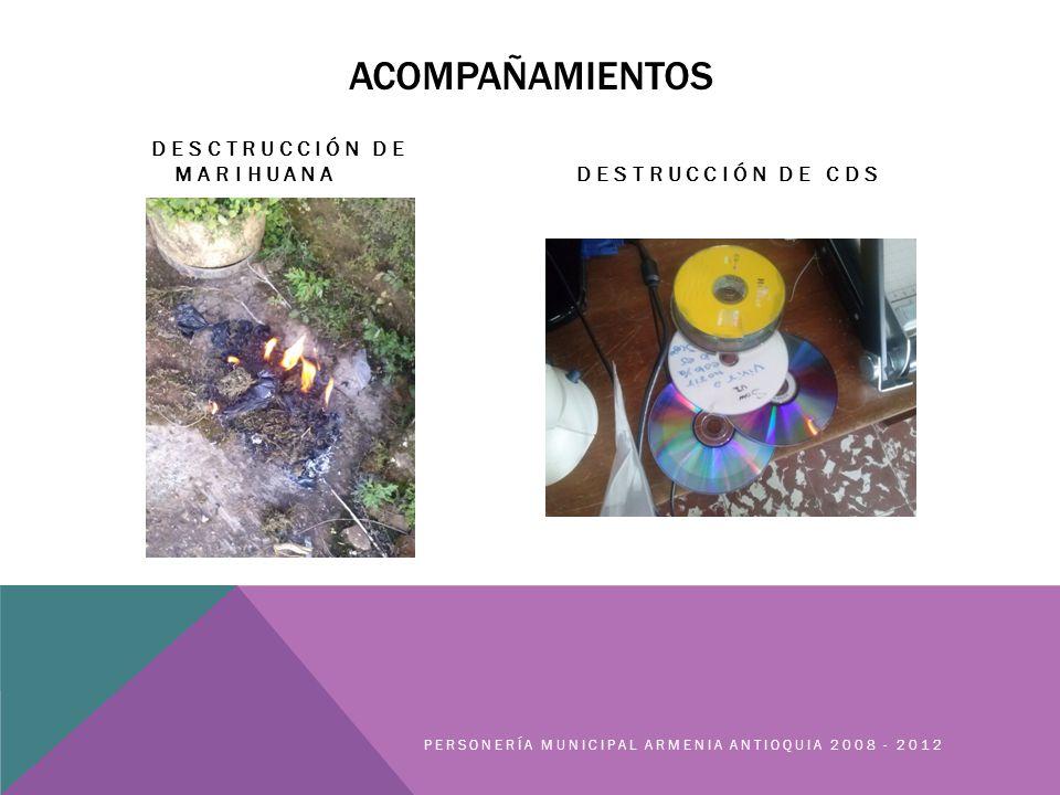 ACOMPAÑAMIENTOS DESCTRUCCIÓN DE MARIHUANADESTRUCCIÓN DE CDS PERSONERÍA MUNICIPAL ARMENIA ANTIOQUIA 2008 - 2012