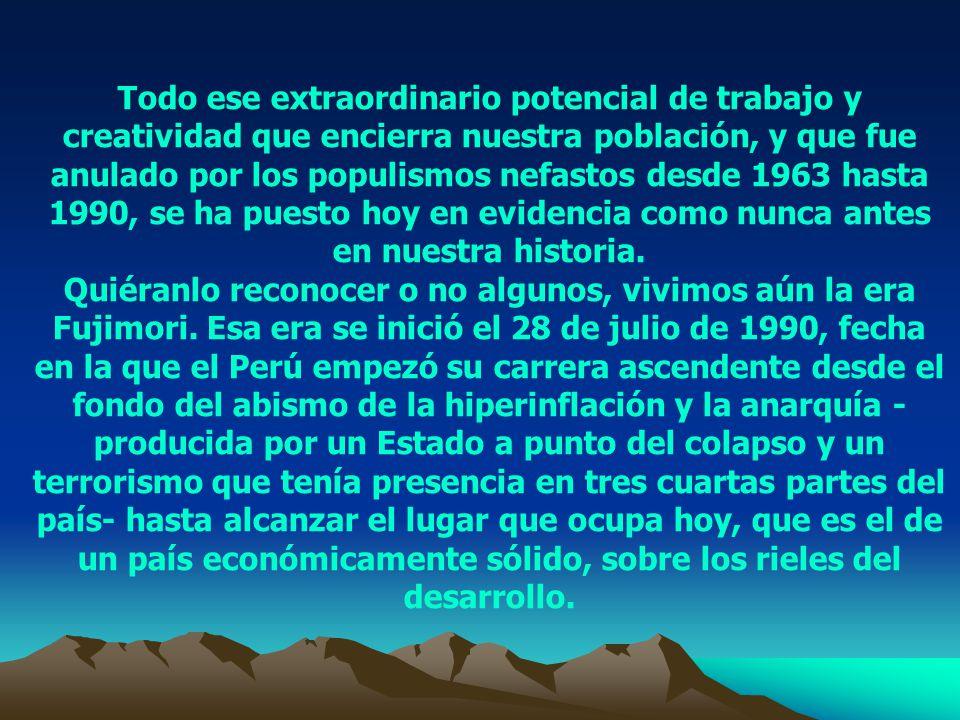 El milagro peruano Juan Gonzales Sandoval (*) General PNP (r) Después de haber superado el abismo al que nos llevaron los políticos tradicionales al finalizar la década de los ochentas, el Perú no ha parado de crecer y de resolver grandes y complejos problemas.
