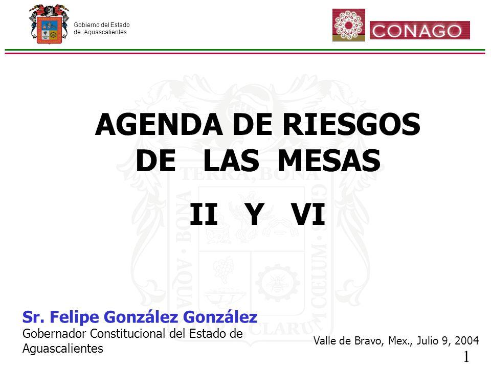 Gobierno del Estado de Aguascalientes 1 AGENDA DE RIESGOS DE LAS MESAS II Y VI Sr.