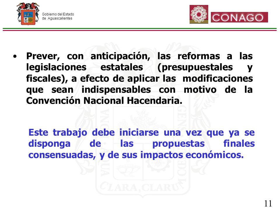 Gobierno del Estado de Aguascalientes 11 Prever, con anticipación, las reformas a las legislaciones estatales (presupuestales y fiscales), a efecto de aplicar las modificaciones que sean indispensables con motivo de la Convención Nacional Hacendaria.