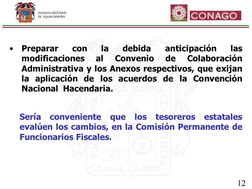 Gobierno del Estado de Aguascalientes 12 Preparar con la debida anticipación las modificaciones al Convenio de Colaboración Administrativa y los Anexos respectivos, que exijan la aplicación de los acuerdos de la Convención Nacional Hacendaria.