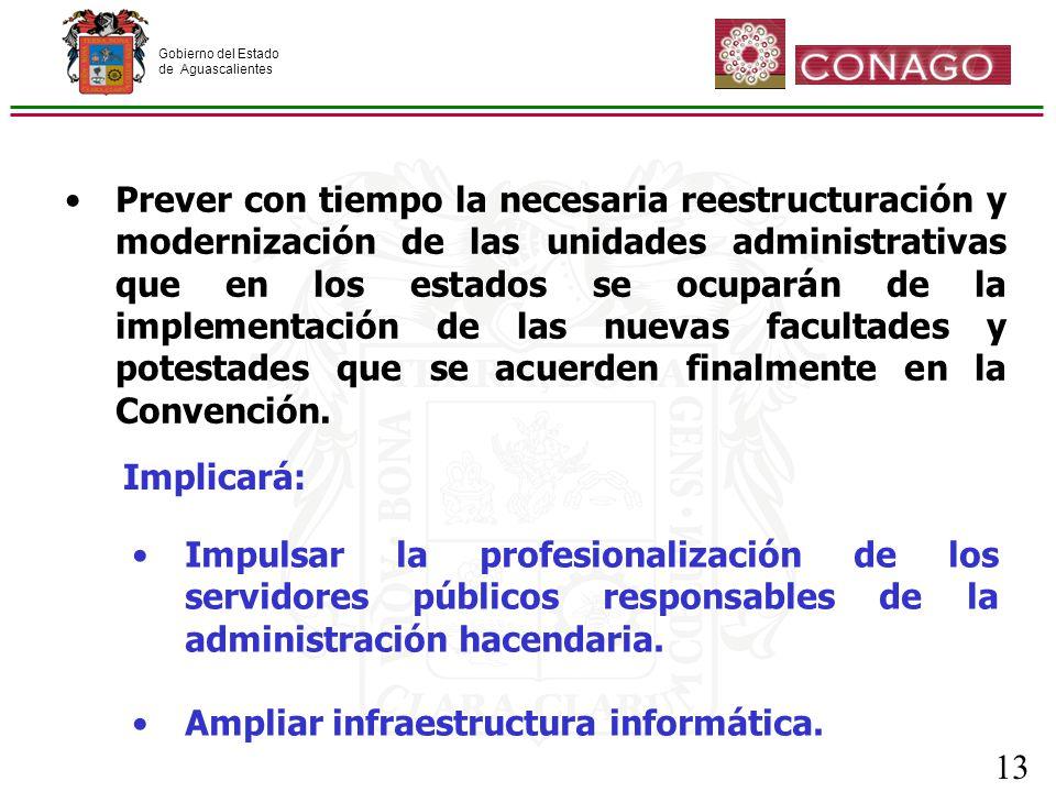 Gobierno del Estado de Aguascalientes 13 Prever con tiempo la necesaria reestructuración y modernización de las unidades administrativas que en los estados se ocuparán de la implementación de las nuevas facultades y potestades que se acuerden finalmente en la Convención.