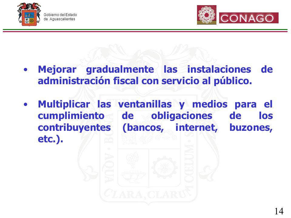 Gobierno del Estado de Aguascalientes 14 Mejorar gradualmente las instalaciones de administración fiscal con servicio al público.