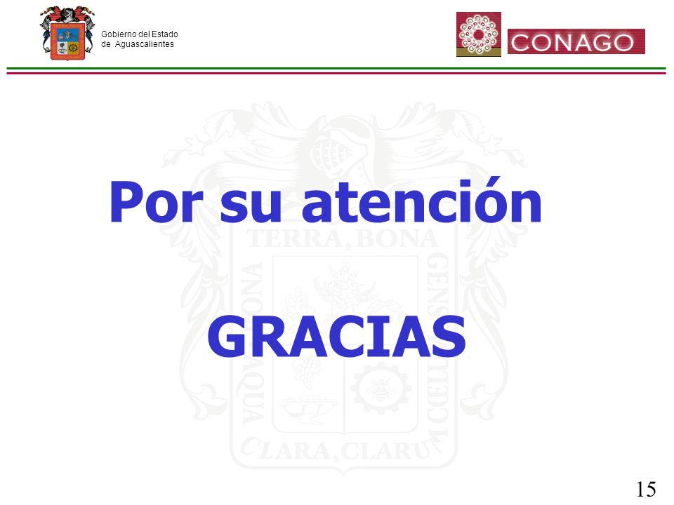 Gobierno del Estado de Aguascalientes 15 Por su atención GRACIAS