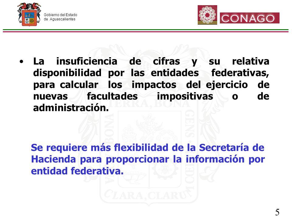Gobierno del Estado de Aguascalientes 5 Se requiere más flexibilidad de la Secretaría de Hacienda para proporcionar la información por entidad federativa.