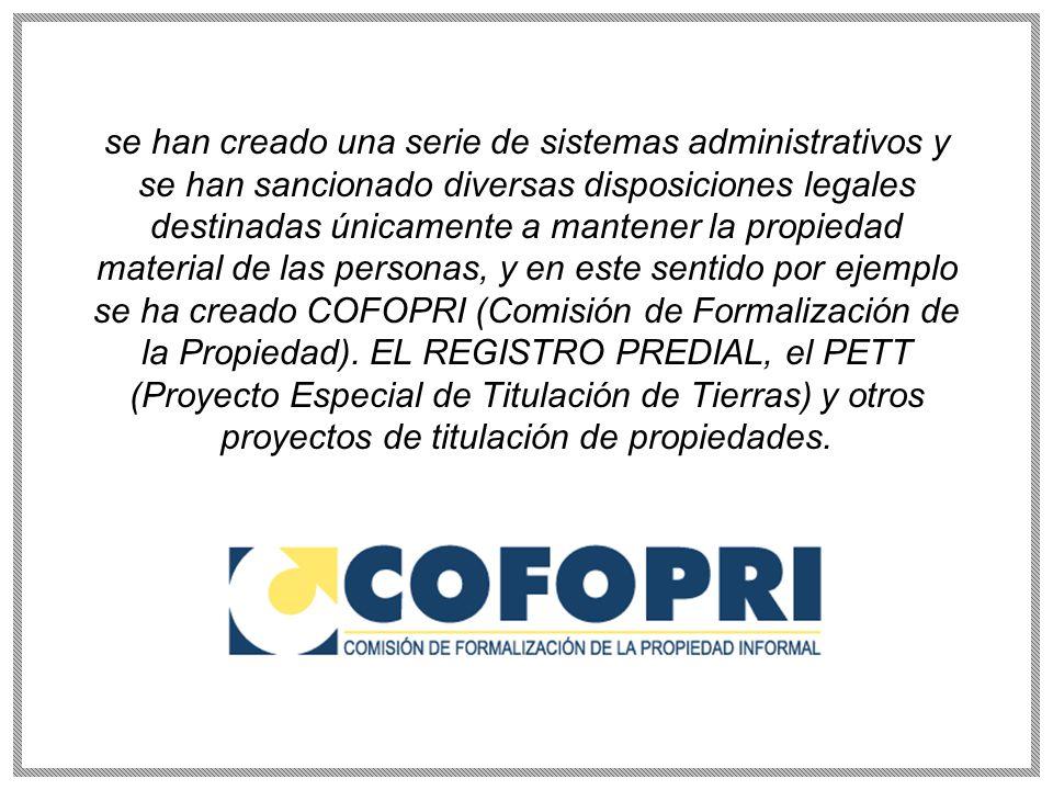 se han creado una serie de sistemas administrativos y se han sancionado diversas disposiciones legales destinadas únicamente a mantener la propiedad material de las personas, y en este sentido por ejemplo se ha creado COFOPRI (Comisión de Formalización de la Propiedad).