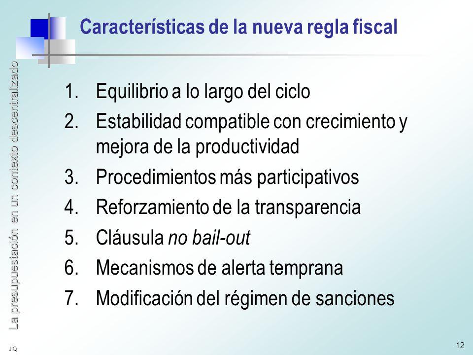 La presupuestación en un contexto descentralizado JIQ 12 Características de la nueva regla fiscal 1.Equilibrio a lo largo del ciclo 2.Estabilidad compatible con crecimiento y mejora de la productividad 3.Procedimientos más participativos 4.Reforzamiento de la transparencia 5.Cláusula no bail-out 6.Mecanismos de alerta temprana 7.Modificación del régimen de sanciones