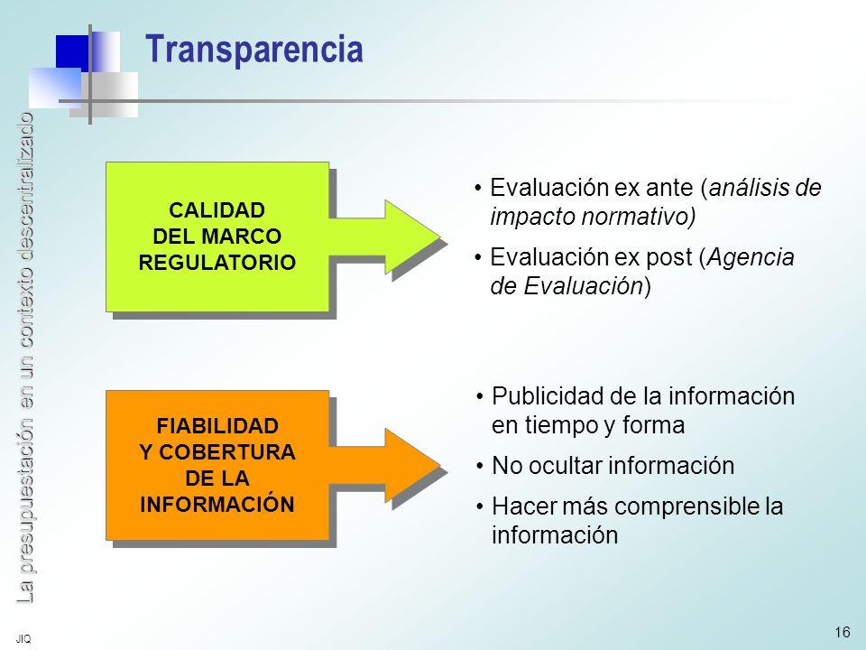 La presupuestación en un contexto descentralizado JIQ 16 Transparencia CALIDAD DEL MARCO REGULATORIO CALIDAD DEL MARCO REGULATORIO FIABILIDAD Y COBERTURA DE LA INFORMACIÓN FIABILIDAD Y COBERTURA DE LA INFORMACIÓN Evaluación ex ante (análisis de impacto normativo) Evaluación ex post (Agencia de Evaluación) Publicidad de la información en tiempo y forma No ocultar información Hacer más comprensible la información