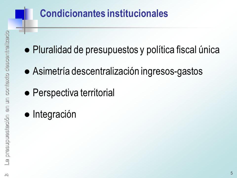 La presupuestación en un contexto descentralizado JIQ 5 Condicionantes institucionales ●Pluralidad de presupuestos y política fiscal única ●Asimetría descentralización ingresos-gastos ●Perspectiva territorial ●Integración