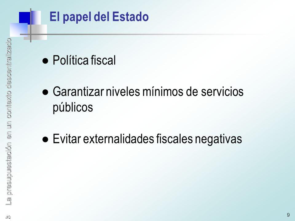 La presupuestación en un contexto descentralizado JIQ 9 El papel del Estado ●Política fiscal ●Garantizar niveles mínimos de servicios públicos ●Evitar externalidades fiscales negativas