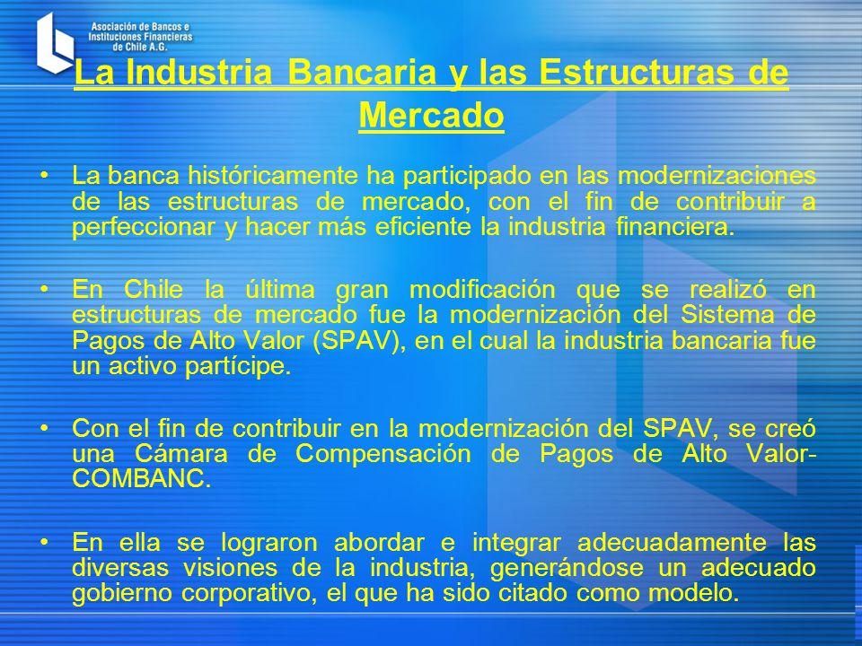 La Industria Bancaria y las Estructuras de Mercado La banca históricamente ha participado en las modernizaciones de las estructuras de mercado, con el fin de contribuir a perfeccionar y hacer más eficiente la industria financiera.