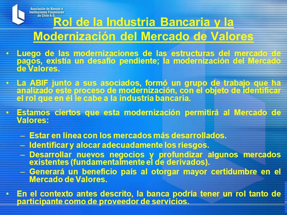 Rol de la Industria Bancaria y la Modernización del Mercado de Valores Luego de las modernizaciones de las estructuras del mercado de pagos, existía un desafío pendiente; la modernización del Mercado de Valores.