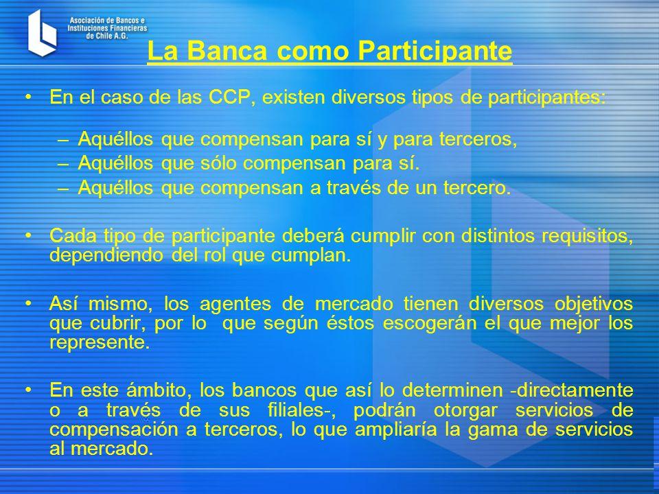 La Banca como Participante En el caso de las CCP, existen diversos tipos de participantes: –Aquéllos que compensan para sí y para terceros, –Aquéllos que sólo compensan para sí.