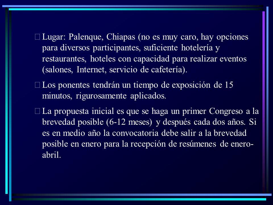  Lugar: Palenque, Chiapas (no es muy caro, hay opciones para diversos participantes, suficiente hotelería y restaurantes, hoteles con capacidad para realizar eventos (salones, Internet, servicio de cafetería).