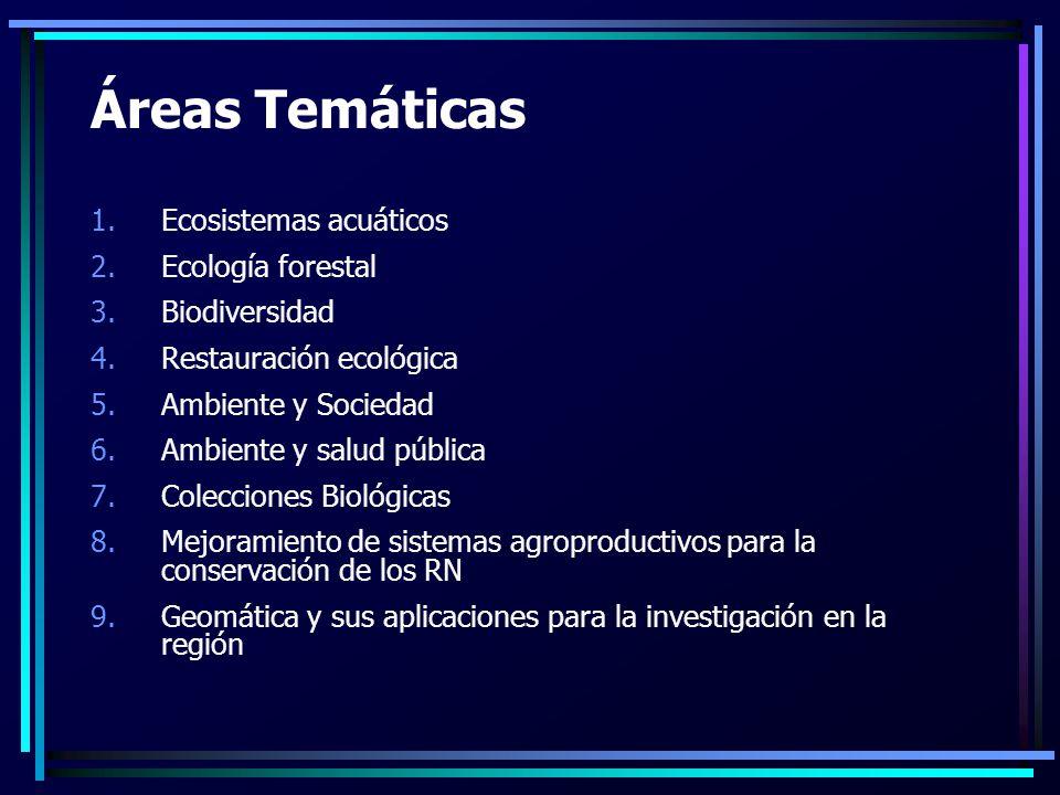 Áreas Temáticas 1.Ecosistemas acuáticos 2.Ecología forestal 3.Biodiversidad 4.Restauración ecológica 5.Ambiente y Sociedad 6.Ambiente y salud pública 7.Colecciones Biológicas 8.Mejoramiento de sistemas agroproductivos para la conservación de los RN 9.Geomática y sus aplicaciones para la investigación en la región