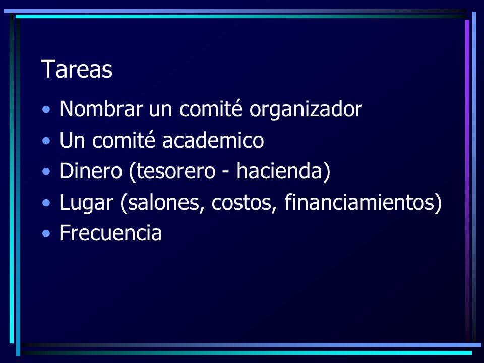 Tareas Nombrar un comité organizador Un comité academico Dinero (tesorero - hacienda) Lugar (salones, costos, financiamientos) Frecuencia