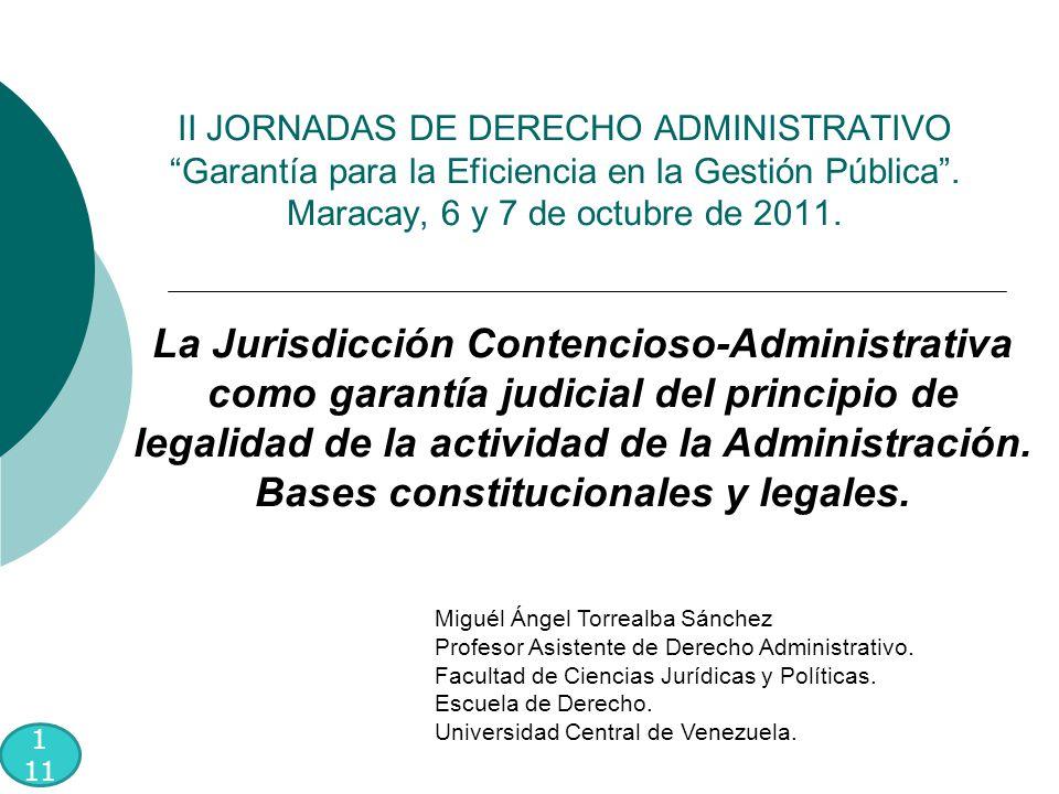 II JORNADAS DE DERECHO ADMINISTRATIVO Garantía para la Eficiencia en la Gestión Pública .