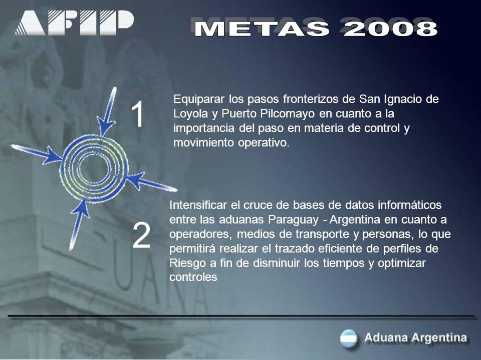 Equiparar los pasos fronterizos de San Ignacio de Loyola y Puerto Pilcomayo en cuanto a la importancia del paso en materia de control y movimiento operativo.