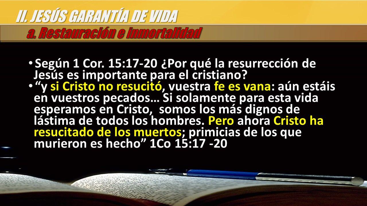 II. JESÚS GARANTÍA DE VIDA Según 1 Cor.