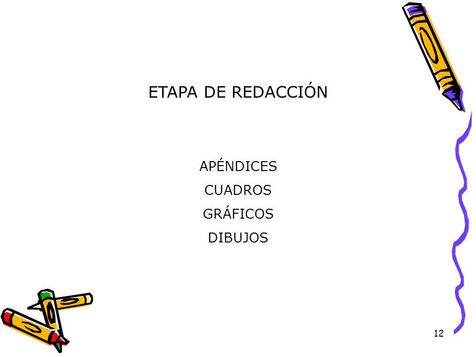 12 ETAPA DE REDACCIÓN APÉNDICESCUADROSGRÁFICOSDIBUJOS