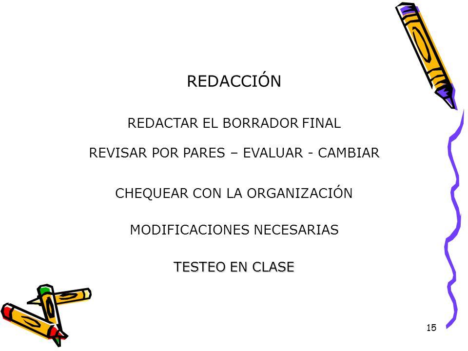 15 REDACCIÓN REDACTAR EL BORRADOR FINAL CHEQUEAR CON LA ORGANIZACIÓN MODIFICACIONES NECESARIAS REVISAR POR PARES – EVALUAR - CAMBIAR TESTEO EN CLASE