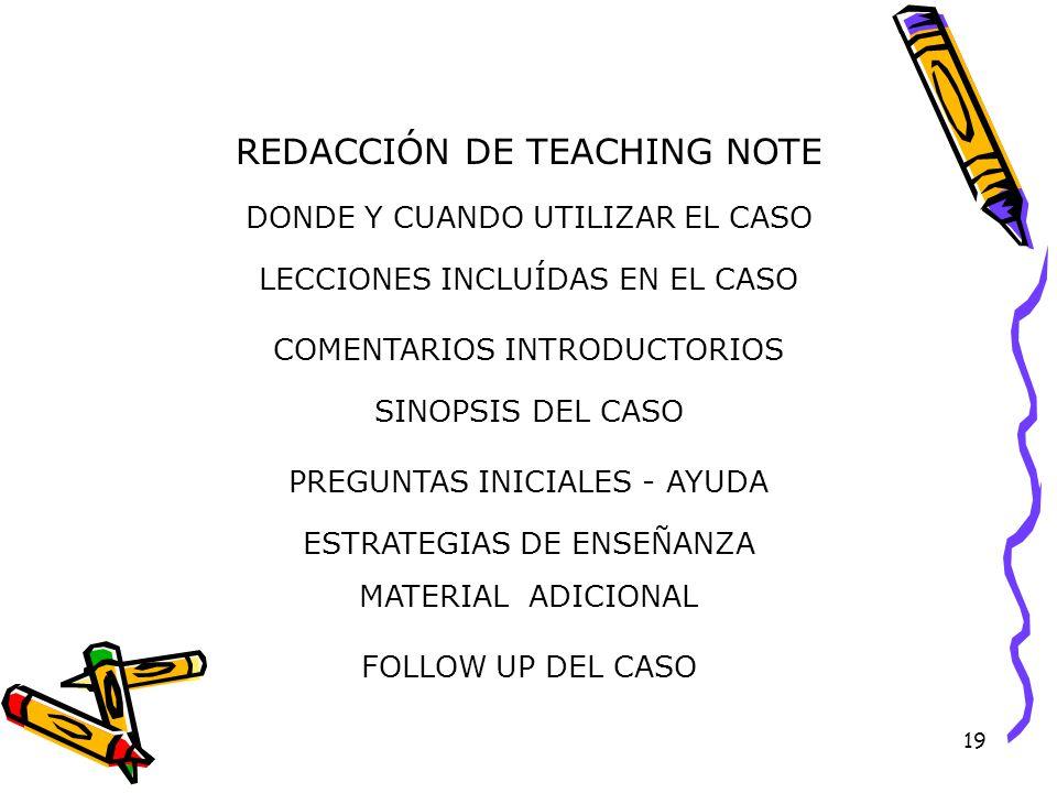 19 REDACCIÓN DE TEACHING NOTE DONDE Y CUANDO UTILIZAR EL CASO LECCIONES INCLUÍDAS EN EL CASO COMENTARIOS INTRODUCTORIOS SINOPSIS DEL CASO PREGUNTAS INICIALES - AYUDA ESTRATEGIAS DE ENSEÑANZA MATERIAL ADICIONAL FOLLOW UP DEL CASO