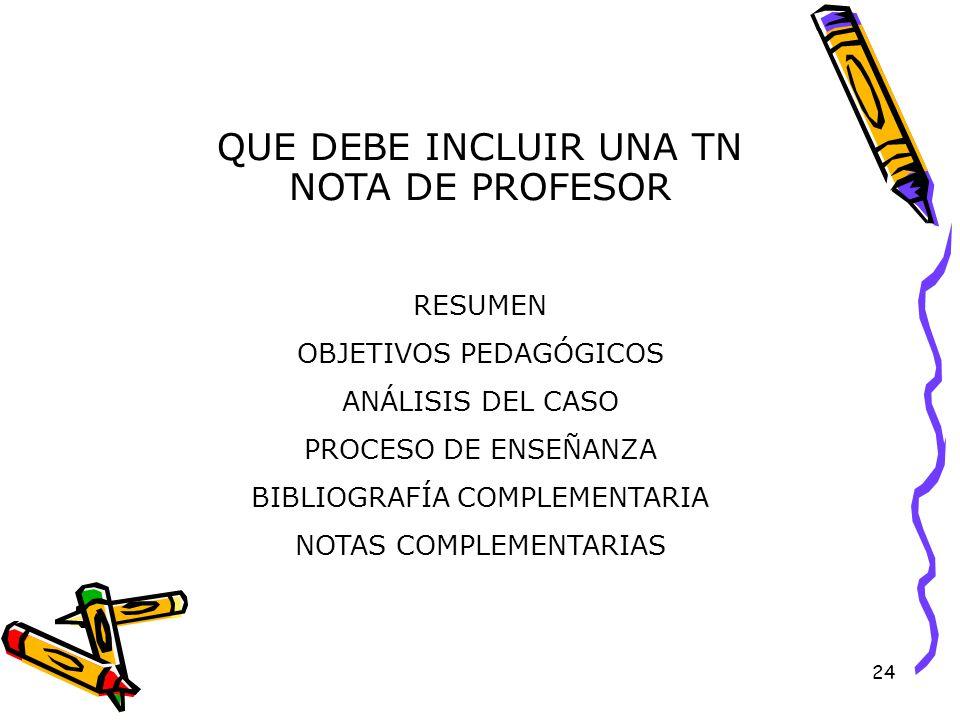 24 QUE DEBE INCLUIR UNA TN NOTA DE PROFESOR RESUMEN OBJETIVOS PEDAGÓGICOS ANÁLISIS DEL CASO PROCESO DE ENSEÑANZA BIBLIOGRAFÍA COMPLEMENTARIA NOTAS COMPLEMENTARIAS