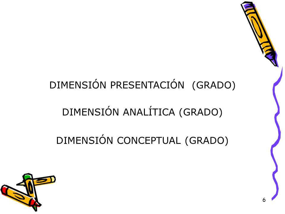 6 DIMENSIÓN ANALÍTICA (GRADO) DIMENSIÓN PRESENTACIÓN (GRADO) DIMENSIÓN CONCEPTUAL (GRADO)