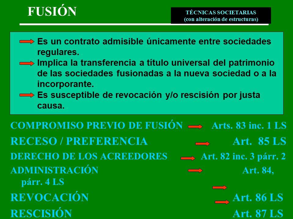 FUSIÓN COMPROMISO PREVIO DE FUSIÓN Arts. 83 inc. 1 LS RECESO / PREFERENCIA Art.