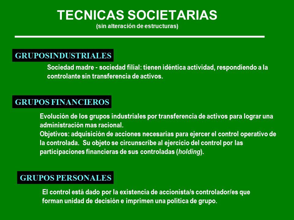 TECNICAS SOCIETARIAS (sin alteración de estructuras) GRUPOSINDUSTRIALES Sociedad madre - sociedad filial: tienen idéntica actividad, respondiendo a la controlante sin transferencia de activos.